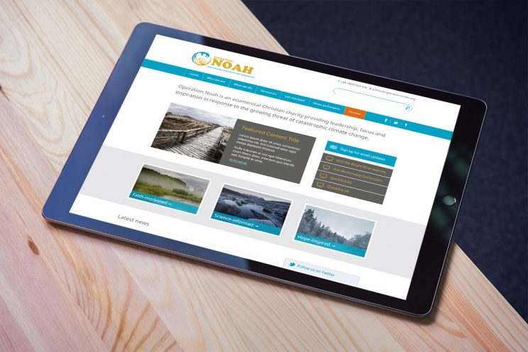 Website design for Operation Noah on iPad