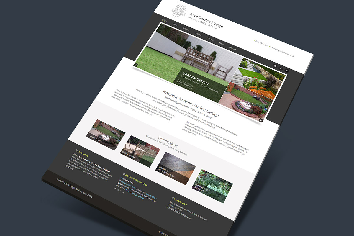 Website design for Acer Garden Design