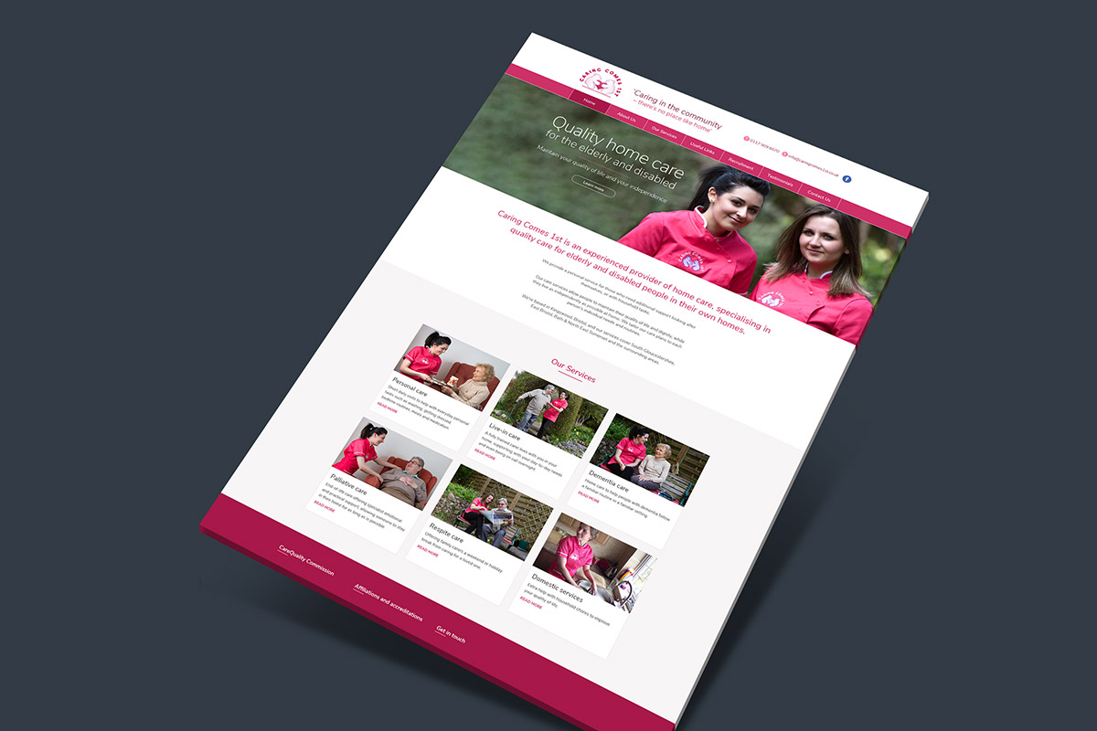 Website design and build for Caring Comes 1st