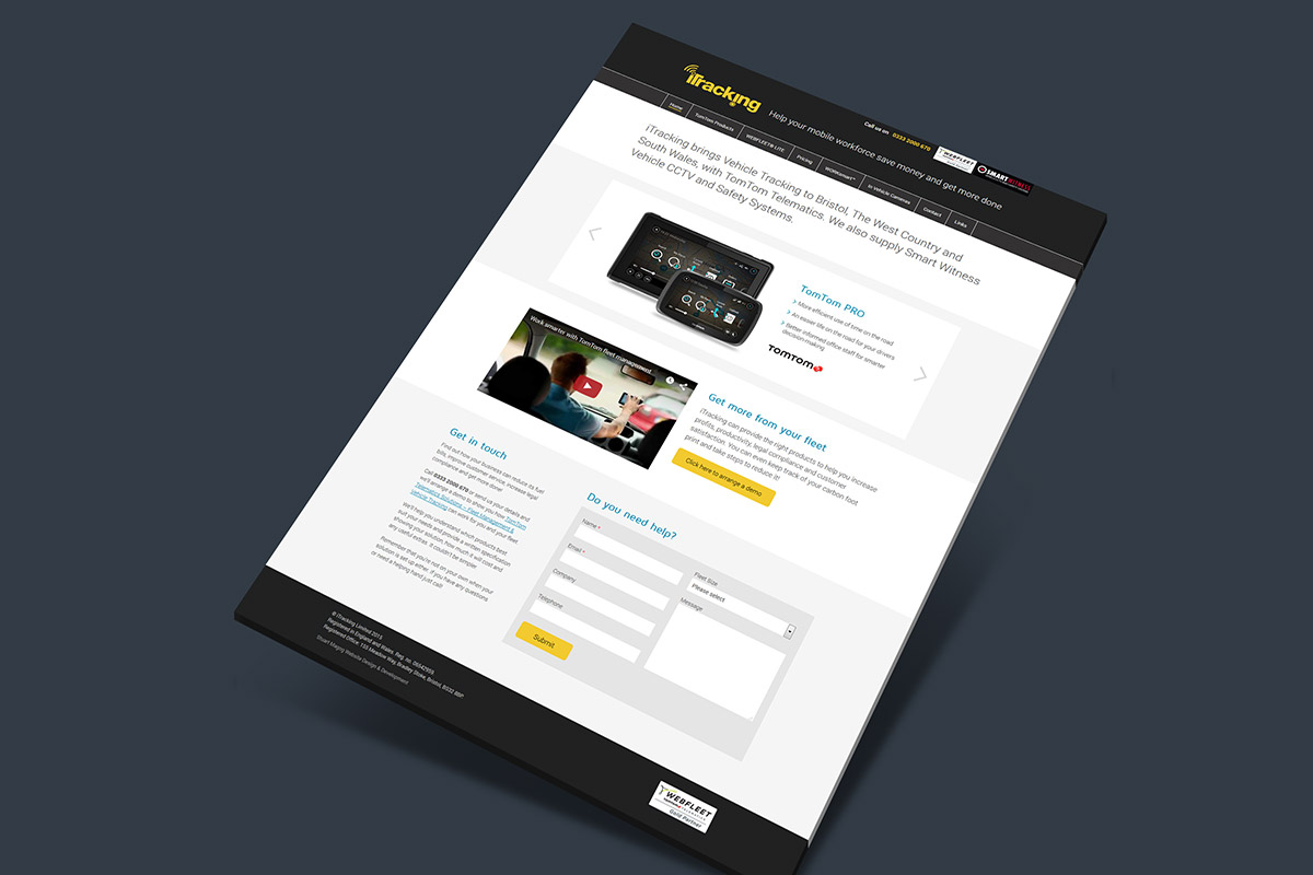 Website design for iTracking