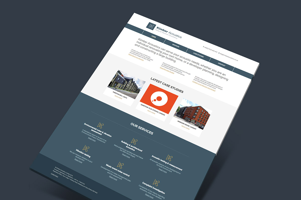 Website design for Kimber Acoustics