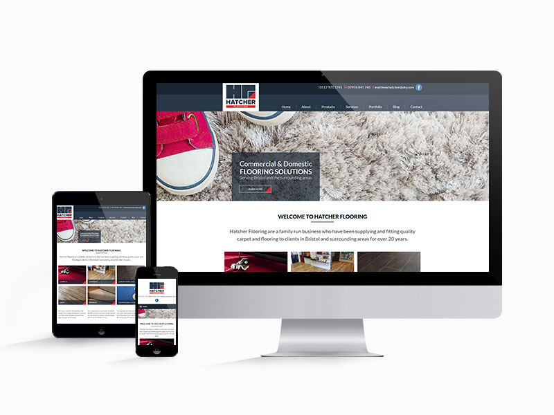 Hatcher Flooring website design on different screen sizes