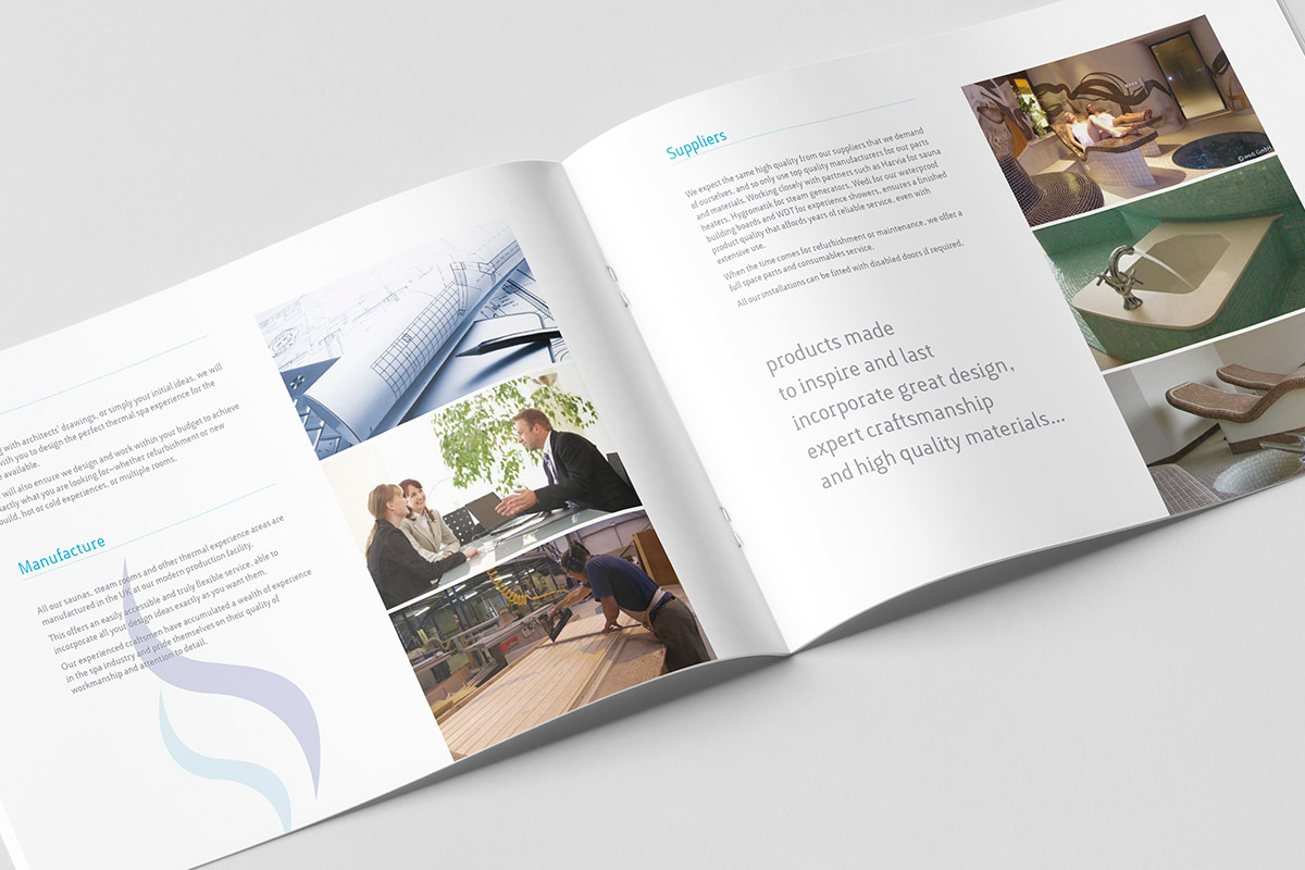 Brochure design for SteamWorks - inner spread