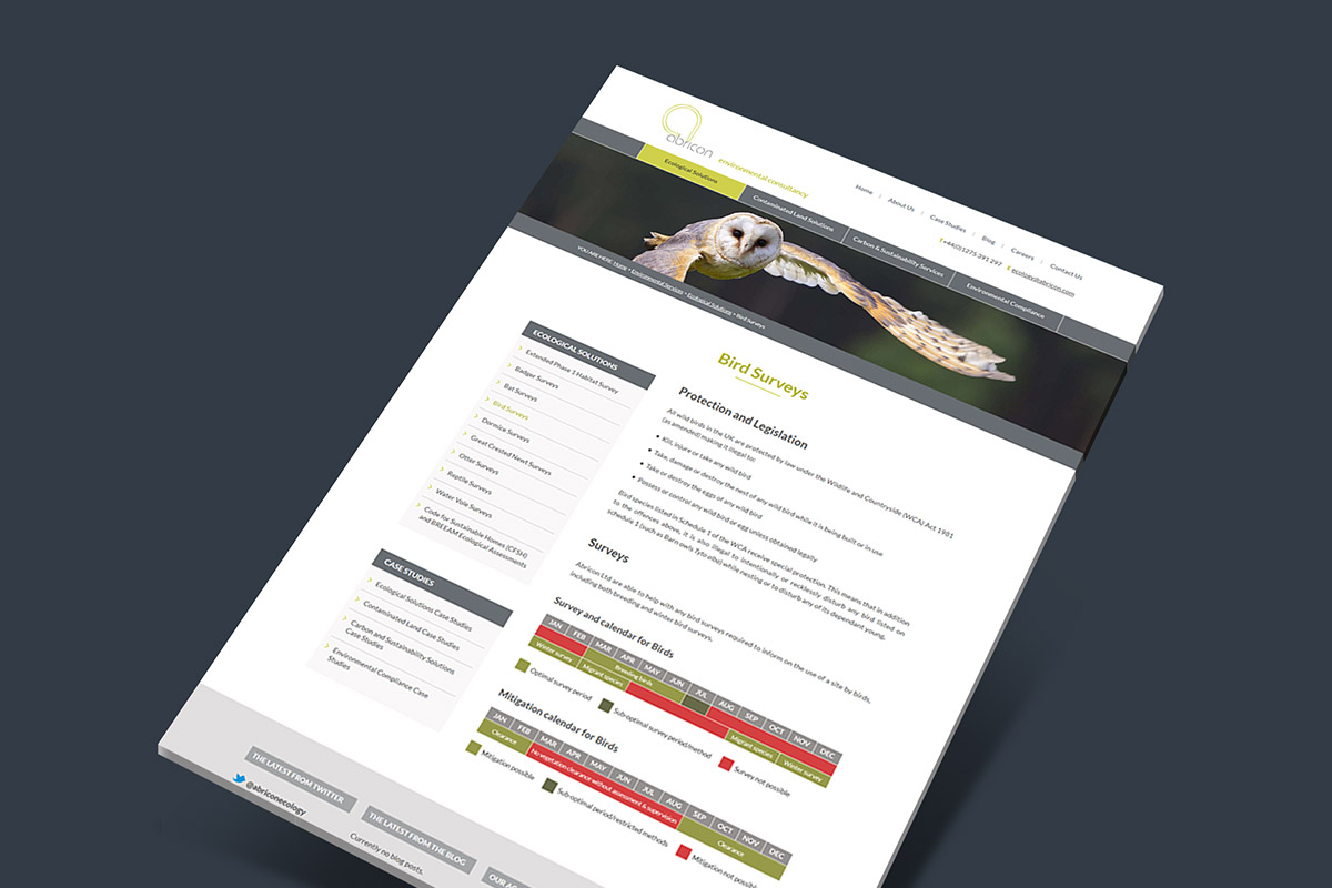 WordPress website design and build for Abricon Ecology