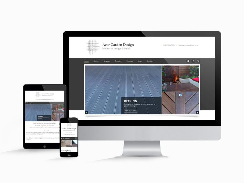 Acer Gardens website design on multiple screen sizes