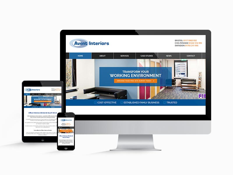 Avent Interior's responsive website design works on all screen sizes