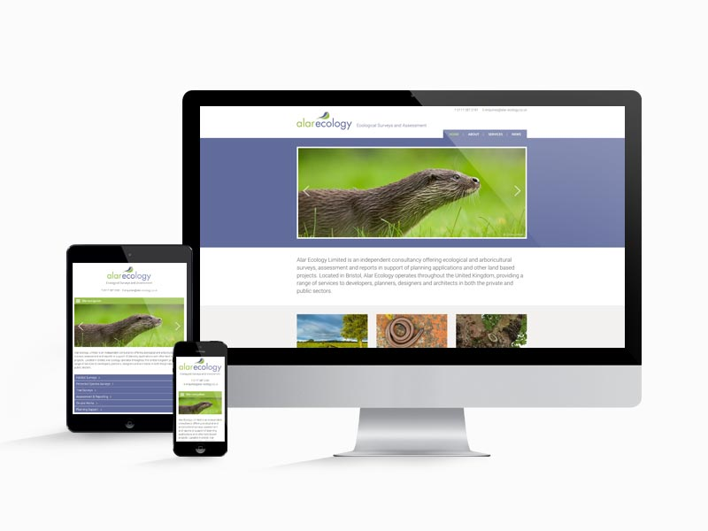 The Alar Ecology website works well on different screen sizes