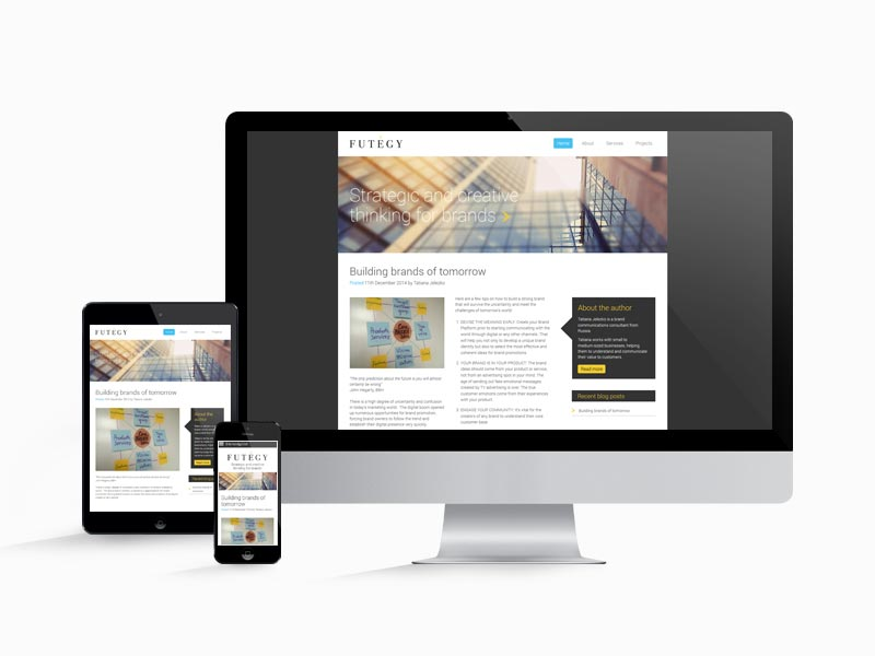 The Futegy website design works across all screen sizes