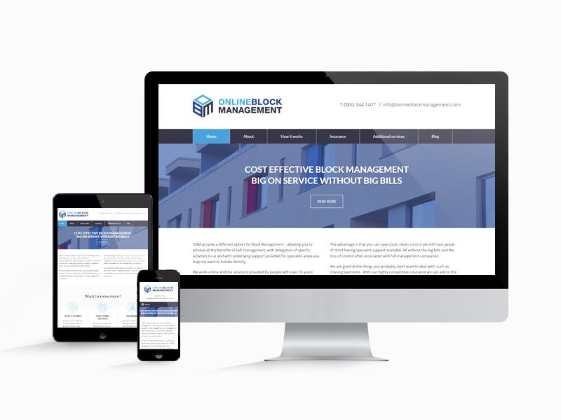 The OBM website design on desktop, tablet and mobile