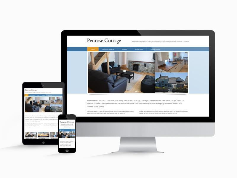 The Penrose Cottage website design works well on desktop, mobile and tablet