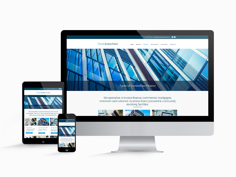 The website design for Pinnacle Business Finance on desktop, tablet and mobile