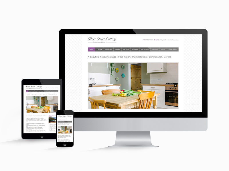 The website design for Silver Street Cottage on desktop, tablet and mobile