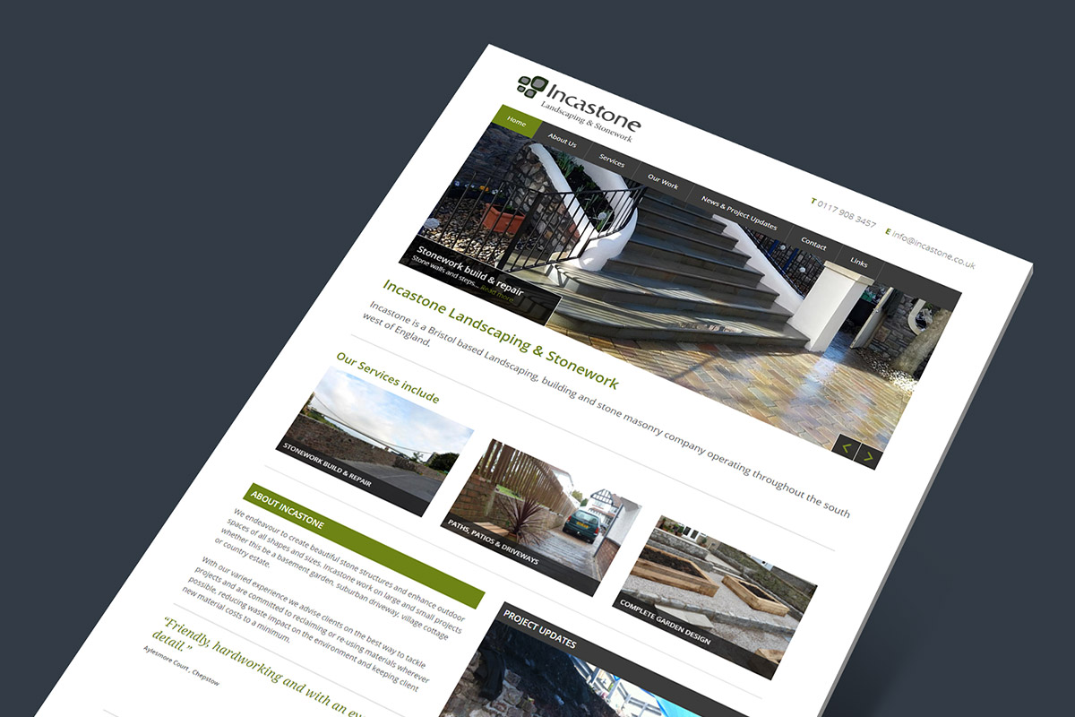 WordPress website design and build for Incastone Landscaping