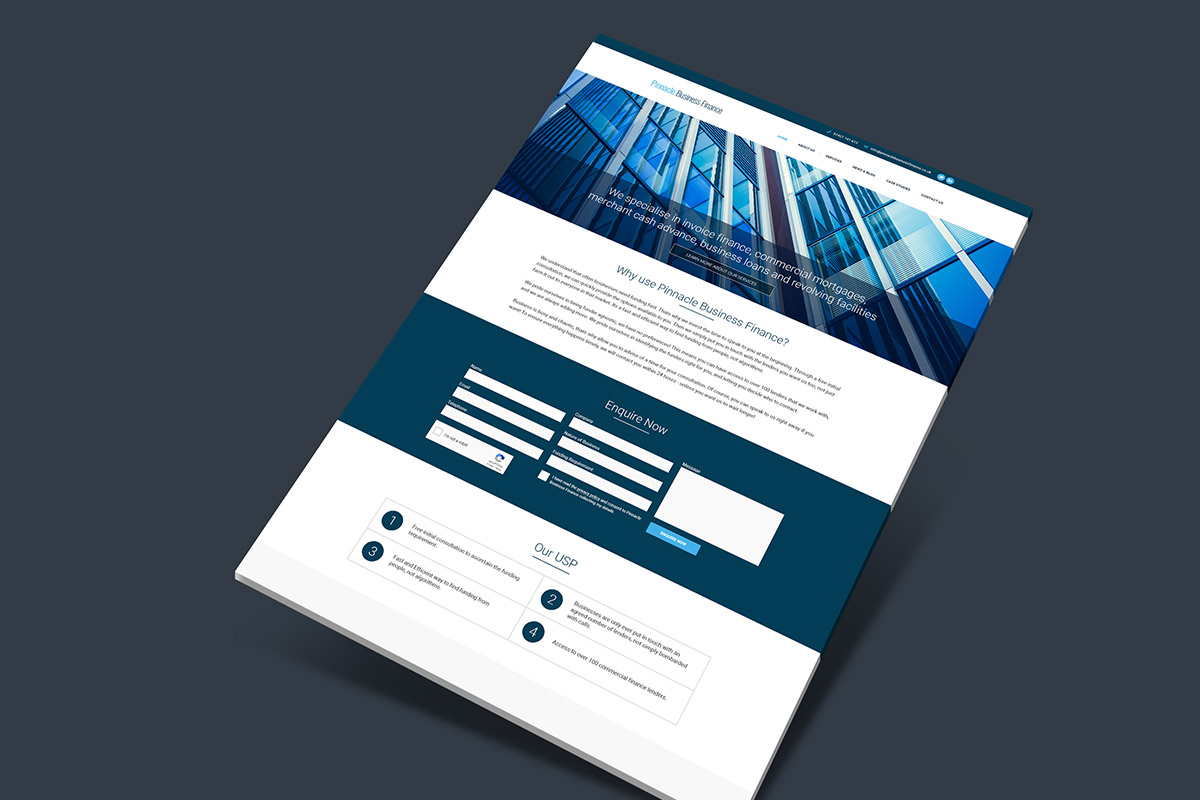 WordPress website design for Pinnacle Business Finance