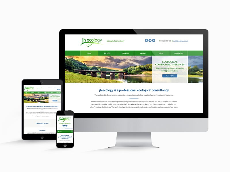 Website design for JH Ecology shown on different screen sizes