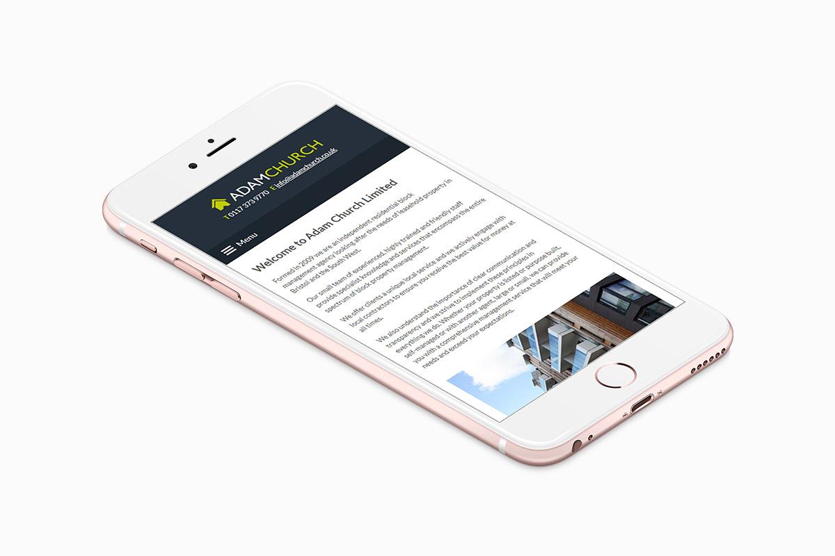 Adam Church Property Management website design on a mobile screen