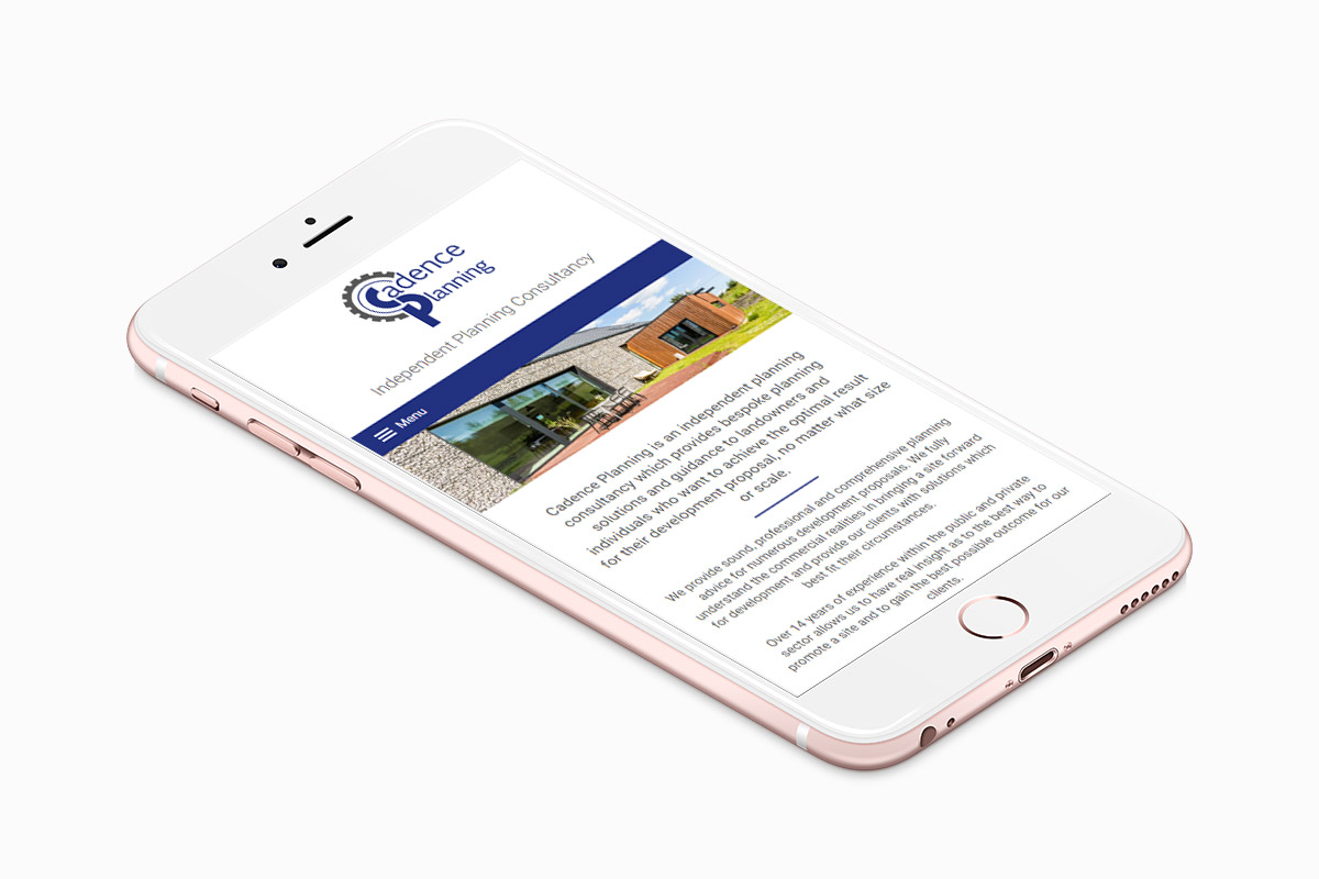 Cadence Planning website design on an iPhone