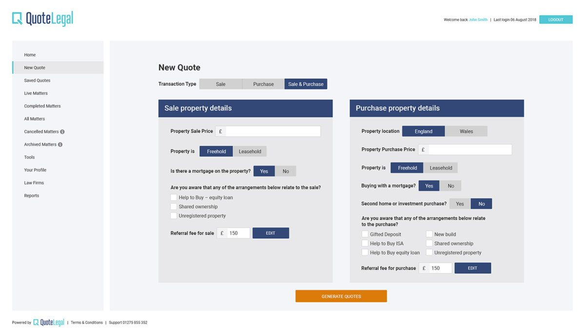QuoteLegal application UI design - form page