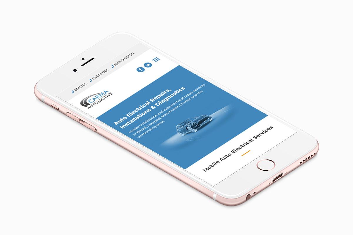 Mobile website design for Carma Automotive
