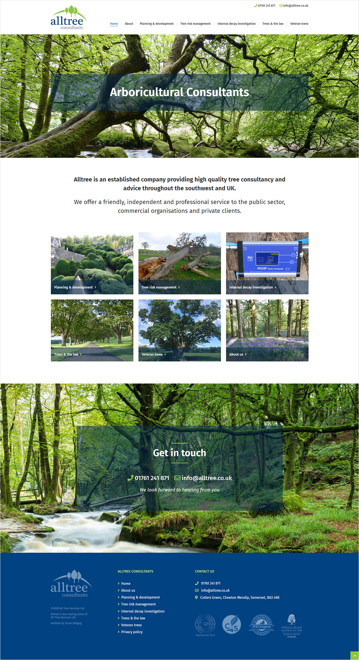 Homepage website design for Alltree Consultants