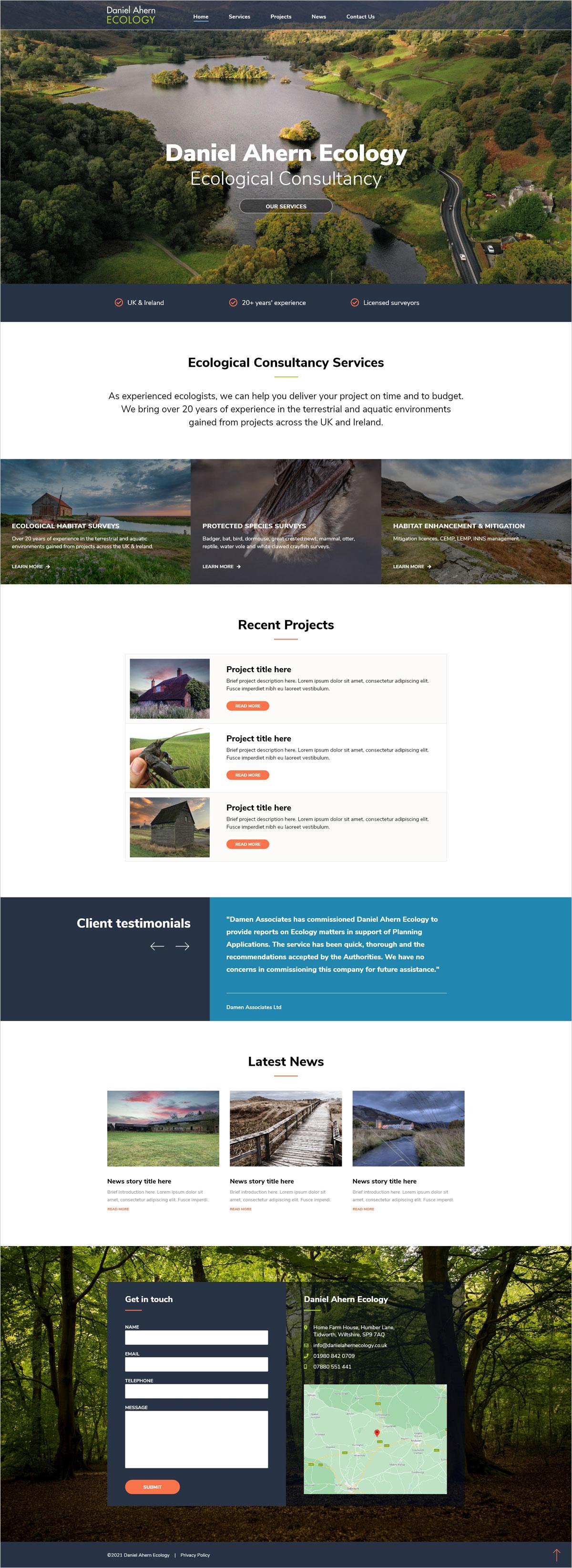 Daniel Ahern Ecology Web Design